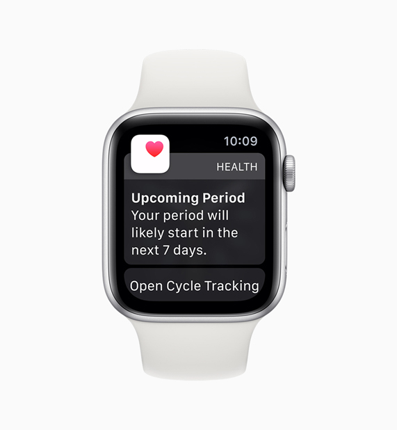 Health app on Apple Watch displaying Cycle Tracking app notification.