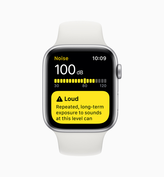 Medidor de decibelios de la app Noise en el Apple Watch.