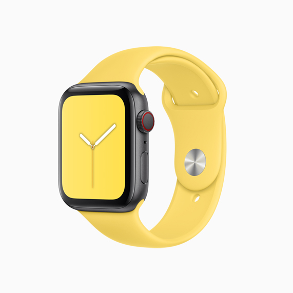 Apple Watch sports band in Canary Yellow.