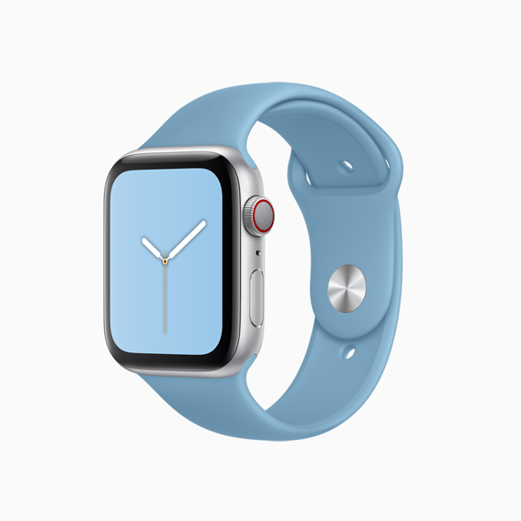 Apple Watch sports band in Cornflower.