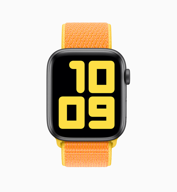 Apple Watch con correa Loop naranja y amarilla.