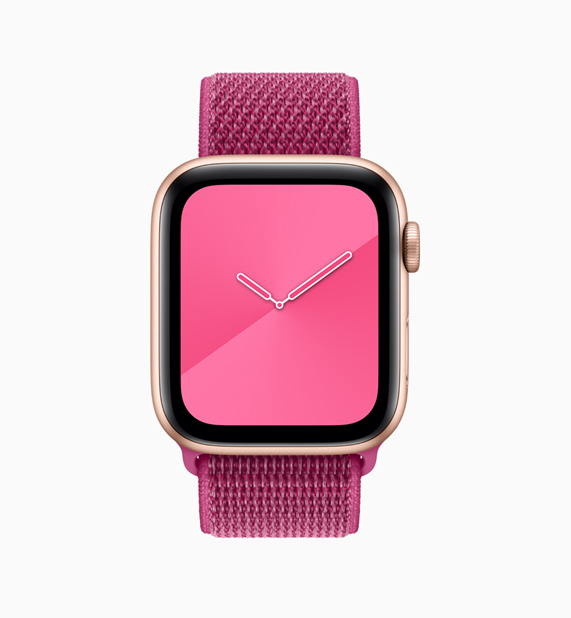 Apple Watch con correa Loop y esfera de color rosa.