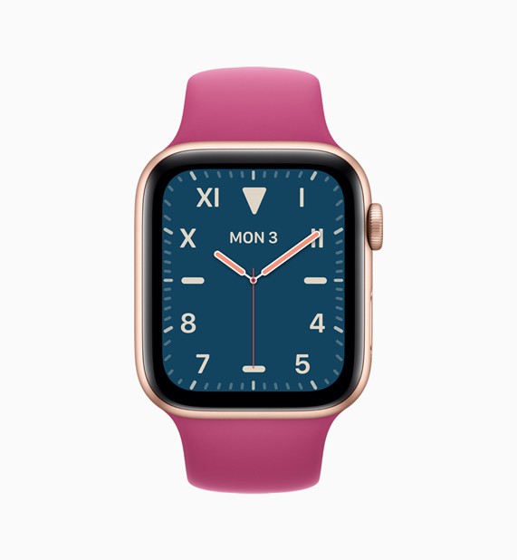 Apple Watch con correa rosa y esfera azul.