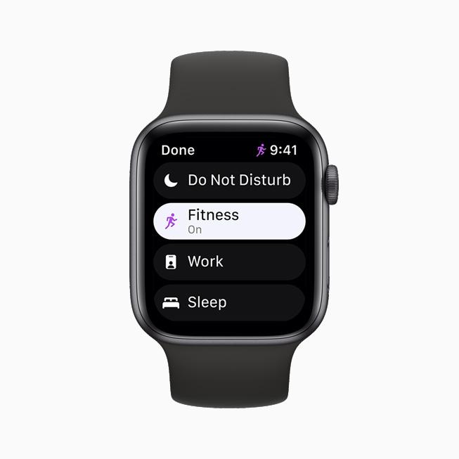 집중 모드 기능을 보여주는 Apple Watch Series 6.