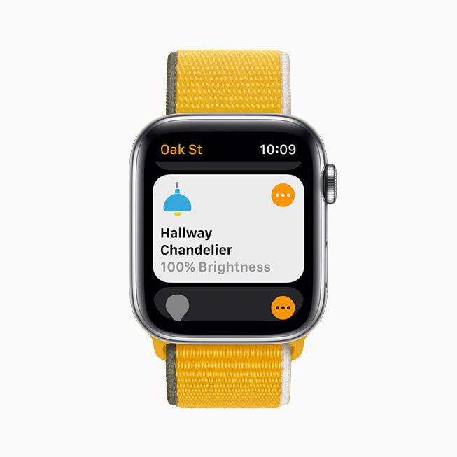 홈 앱을 통해 복도 샹들리에의 밝기 수준을 보여주는 Apple Watch Series 6.