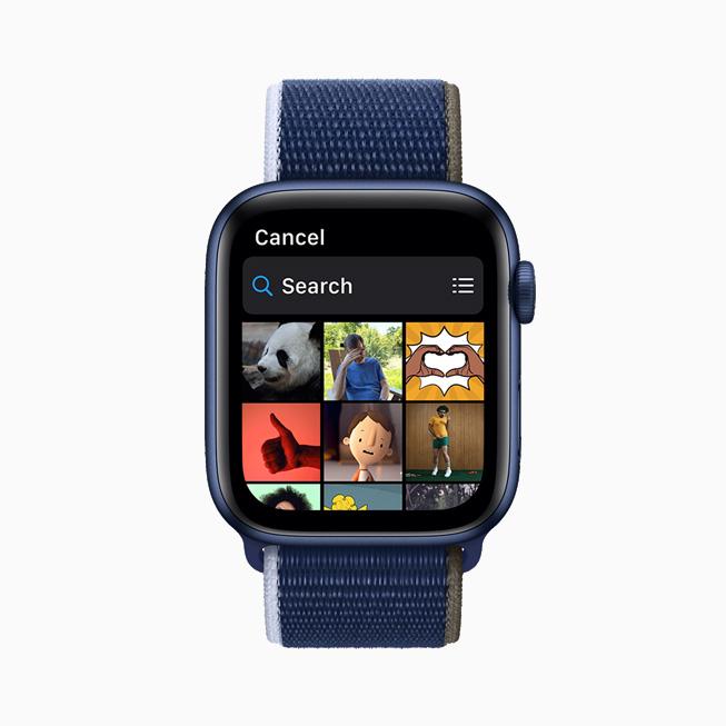 메시지의 GIF 검색 결과를 보여주는 Apple Watch Series 6.