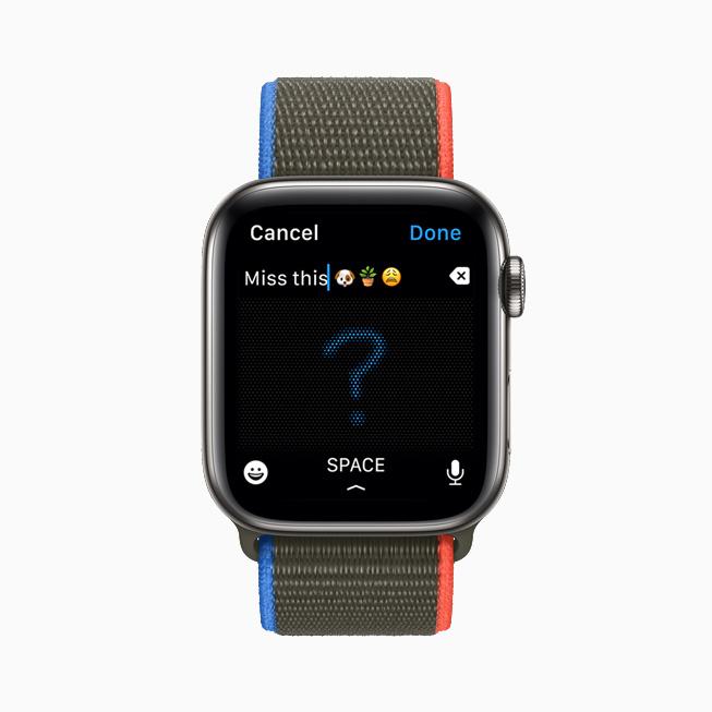 메시지의 손글씨 입력 도구를 사용해 작성된 답장을 보여주는 Apple Watch Series 6.