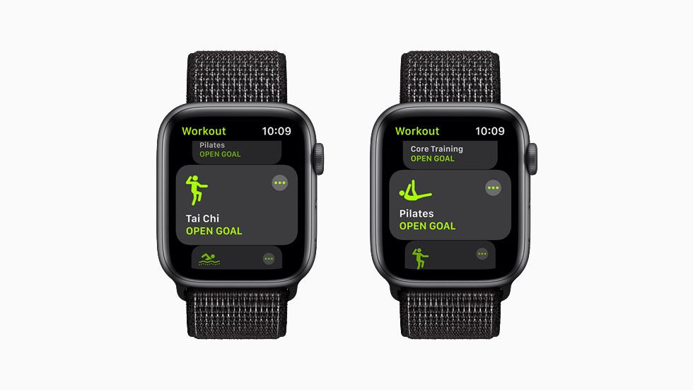 태극권과 필라테스 운동을 보여주는 각각의 Apple Watch Series 6.