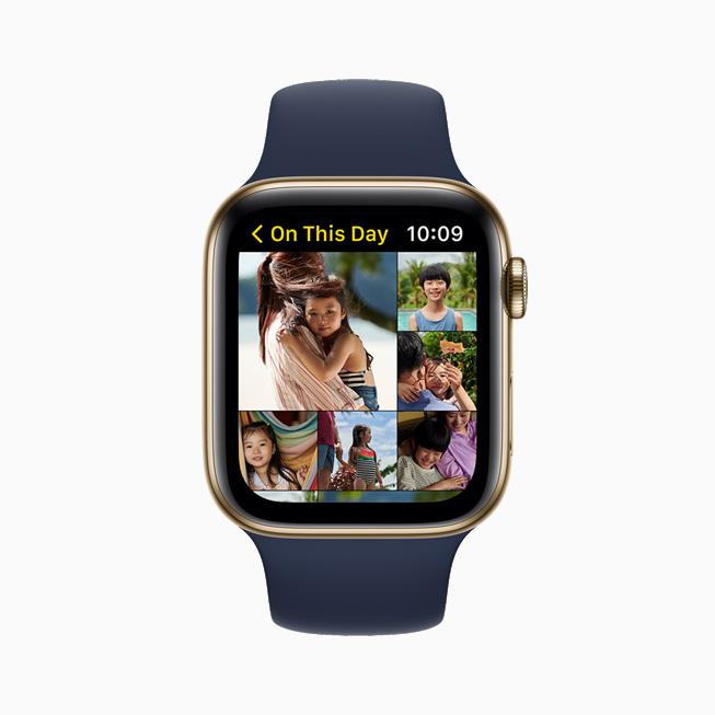 """사진 앱애서 """"과거의 오늘"""" 사진 컬렉션을 보여주는 Apple Watch Series 6."""