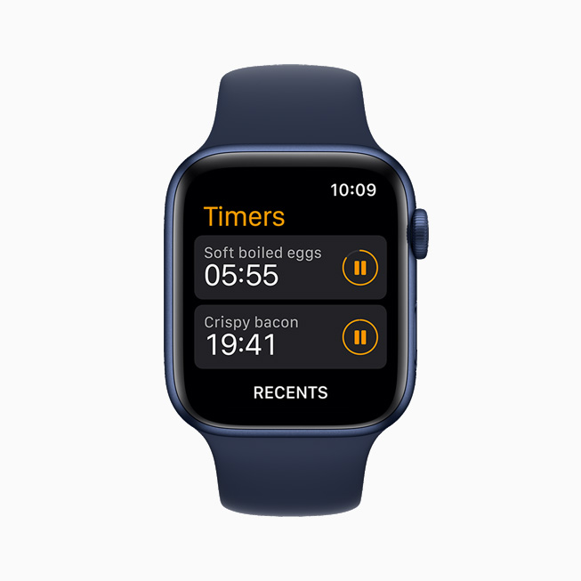 사용자 맞춤 타이머를 보여주는 Apple Watch Series 6.