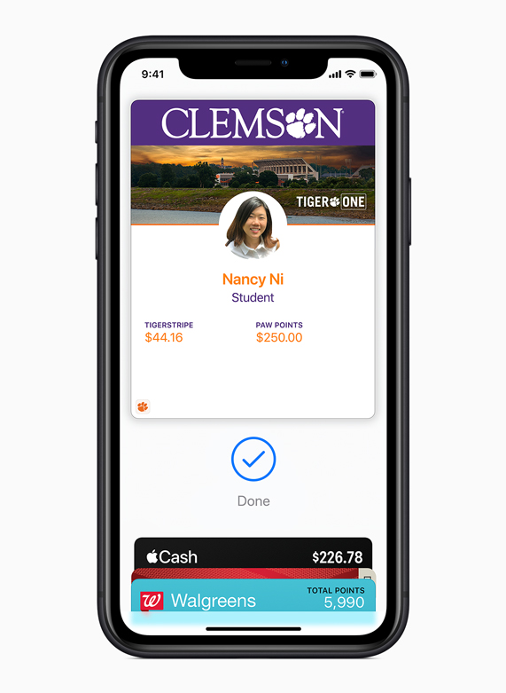 iPhone displaying a Clemson University student ID in Apple Wallet.