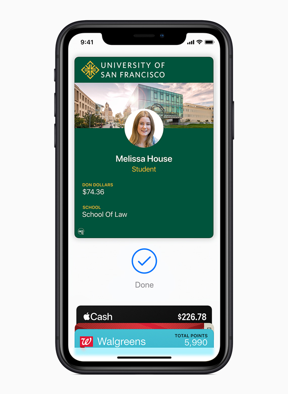 iPhone displaying a University of San Francisco student ID in Apple Wallet.