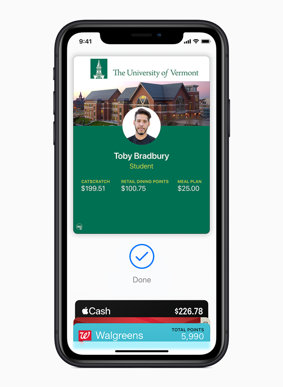 iPhone displaying a University of Vermont student ID in Apple Wallet.