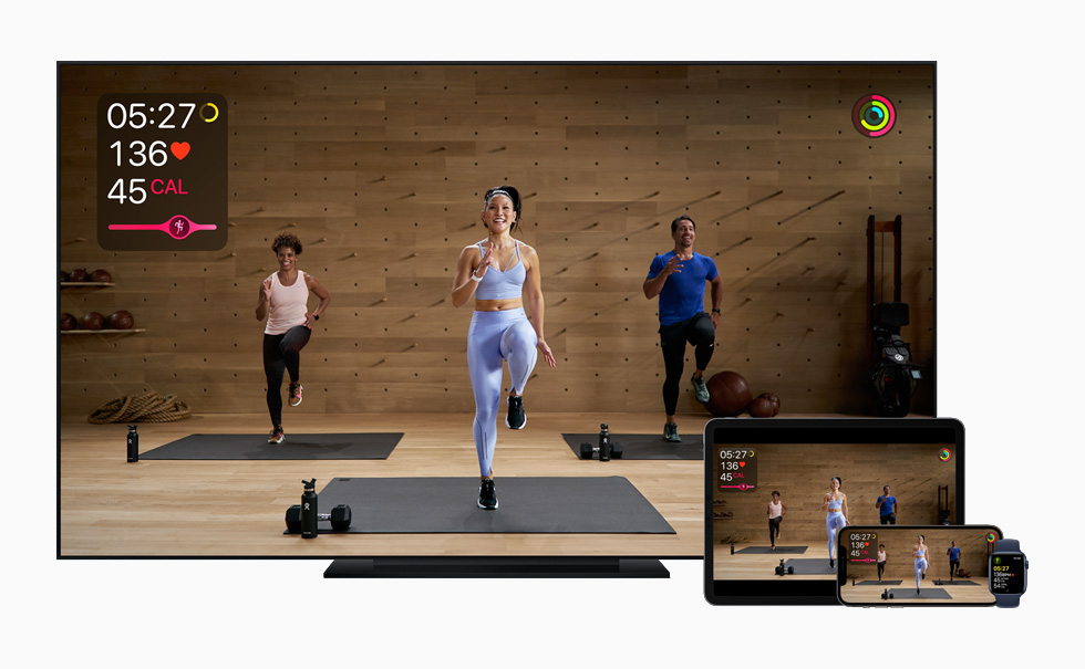 Apple Fitness+ on iPhone, iPad, Apple Watch and the TV app.