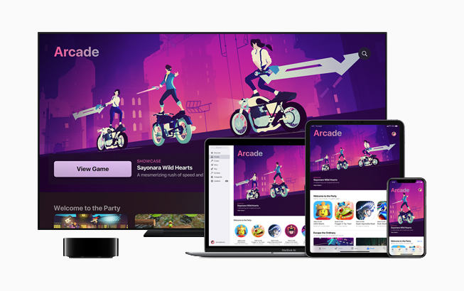 Apple TV, MacBook Air, iPad ve iPhone'da Apple Arcade.