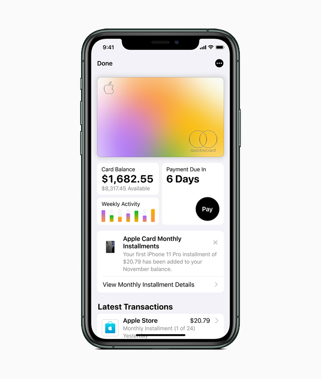 iPhone mostrando la actividad de la Apple Card.