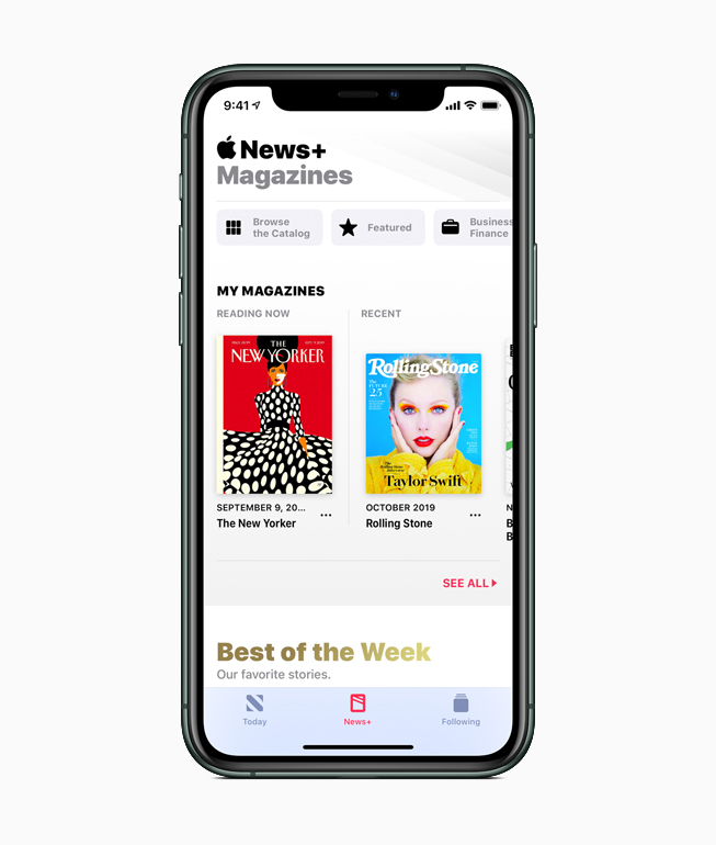 iPhone showing Apple News+.