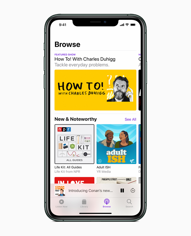 iPhone showing Apple Podcasts.