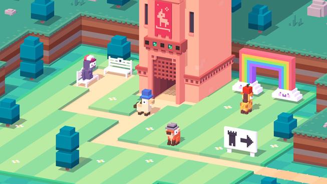 Crossy Road gameplay displayed on iPhone.