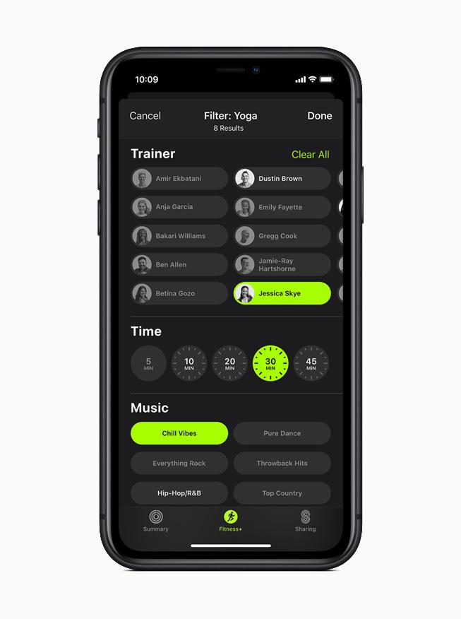iPhone 11 Proに表示されたApple Fitness+のヨガワークアウトのフィルター。