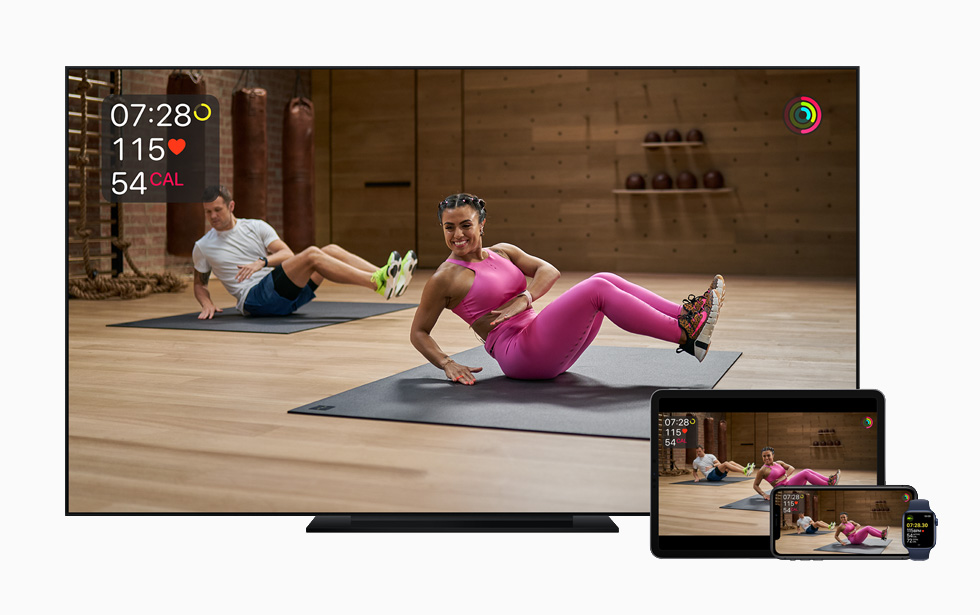 L'entraînement de vélo dans AppleFitness+ sur l'AppleTV.