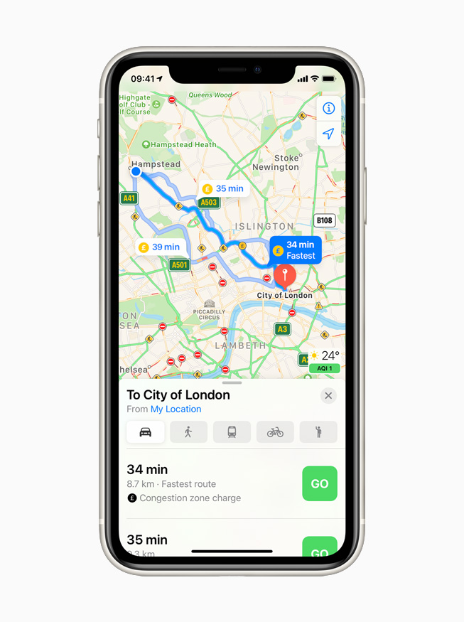 Congestion zones displayed in Apple Maps on iPhone 11 Pro.