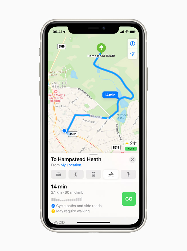 Cycling directions in Apple Maps displayed on iPhone 11 Pro.