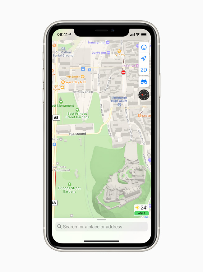Apple Maps displayed on iPhone 11 Pro.