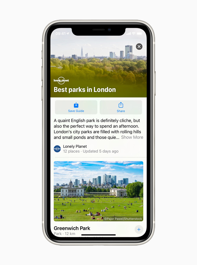 The Guides feature in Apple Maps displayed on iPhone 11 Pro.