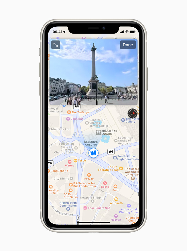The London city view using the Look Around feature in Maps displayed on iPhone 11 Pro.