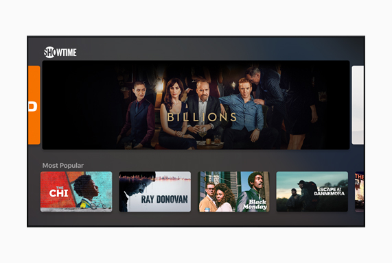 "Showtime screen showing ""Billions."""
