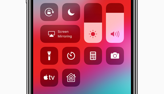 Apple X iPhone screen featuring the new Apple TV Control Center widget