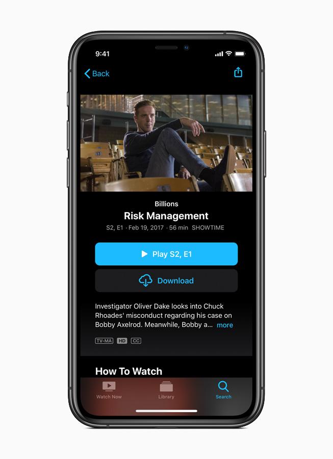 Apple TV app on iPhone 11 Pro.
