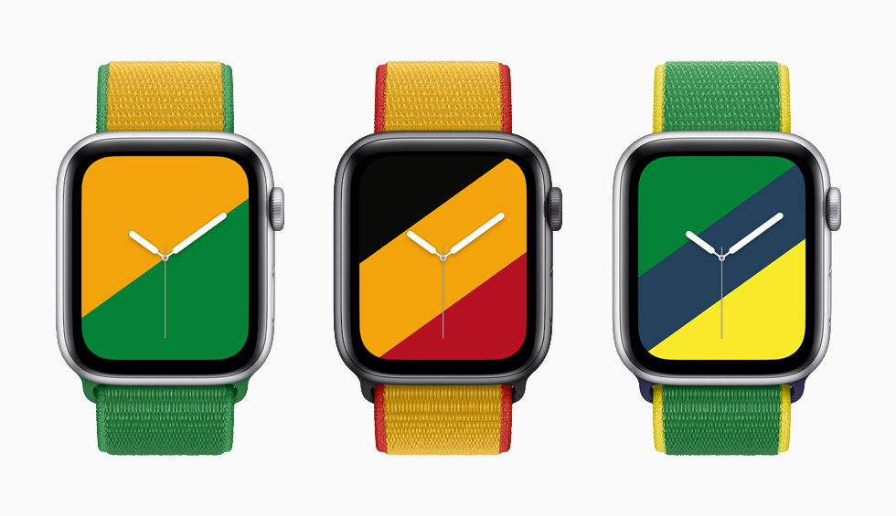 Australia, Belgium, and Brazil International Collection Sport Loop bands with matching Stripes watch faces on Apple Watch Series 6.