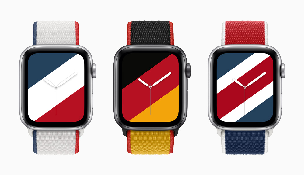France, Germany, and Great Britain International Collection Sport Loop bands with matching Stripes watch faces on Apple Watch Series 6.