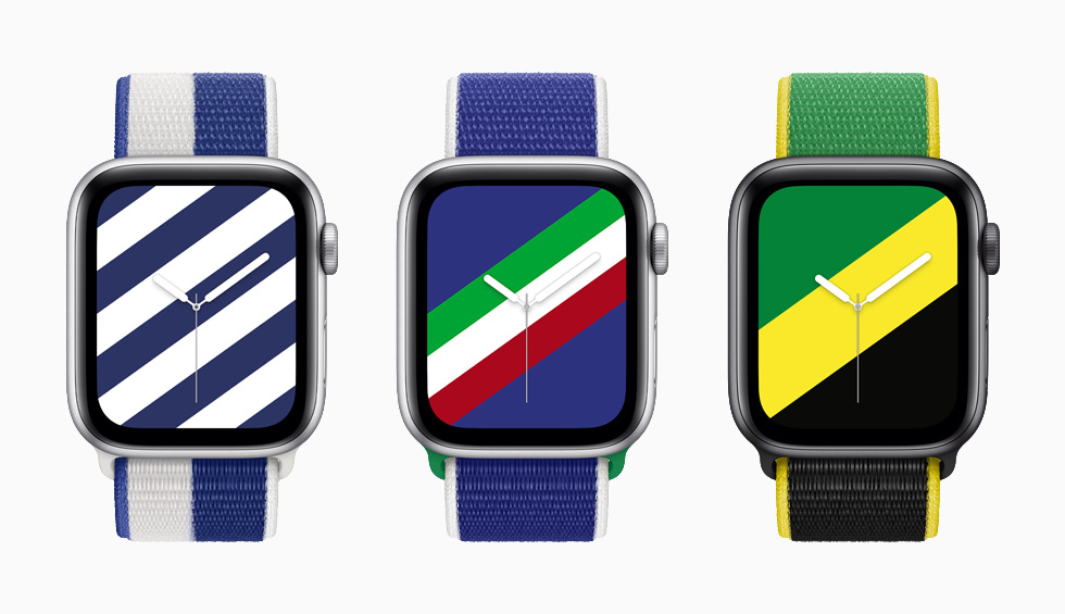 Greece, Italy, and Jamaica International Collection Sport Loop bands with matching Stripes watch faces on Apple Watch Series 6.