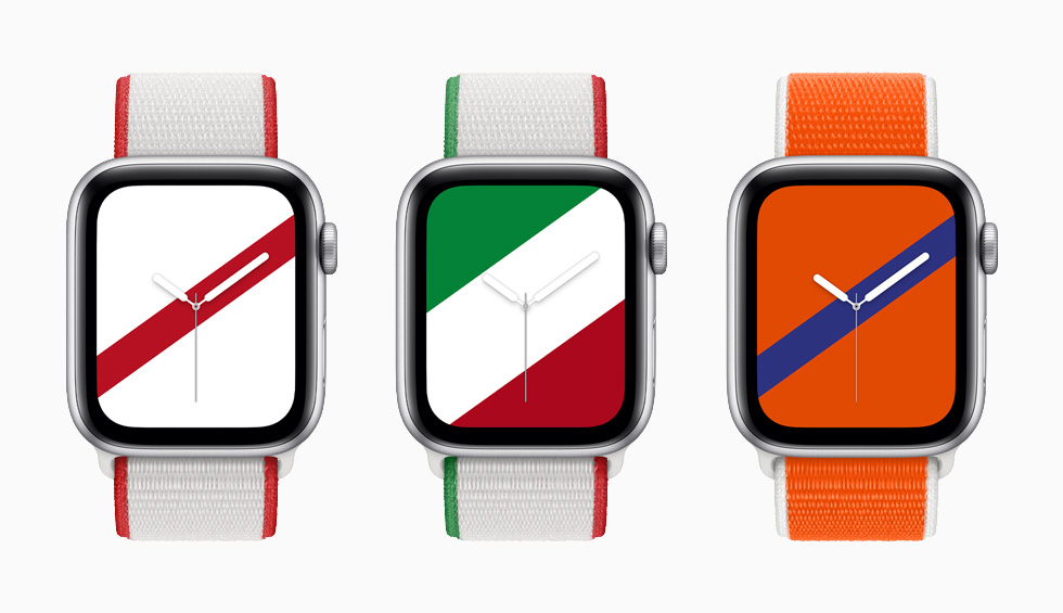 Japan, Mexico, and Netherlands International Collection Sport Loop bands with matching Stripes watch faces on Apple Watch Series 6.