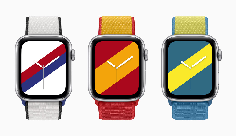 South Korea, Spain, and Sweden International Collection Sport Loop bands with matching Stripes watch faces on Apple Watch Series 6.