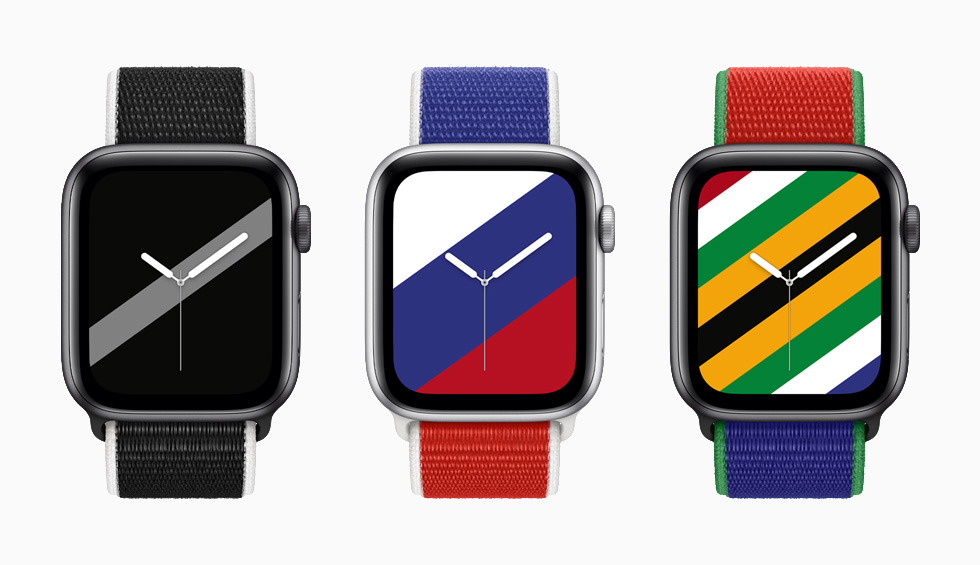 New Zealand, Russia, and South Africa International Collection Sport Loop bands with matching Stripes watch faces on Apple Watch Series 6.