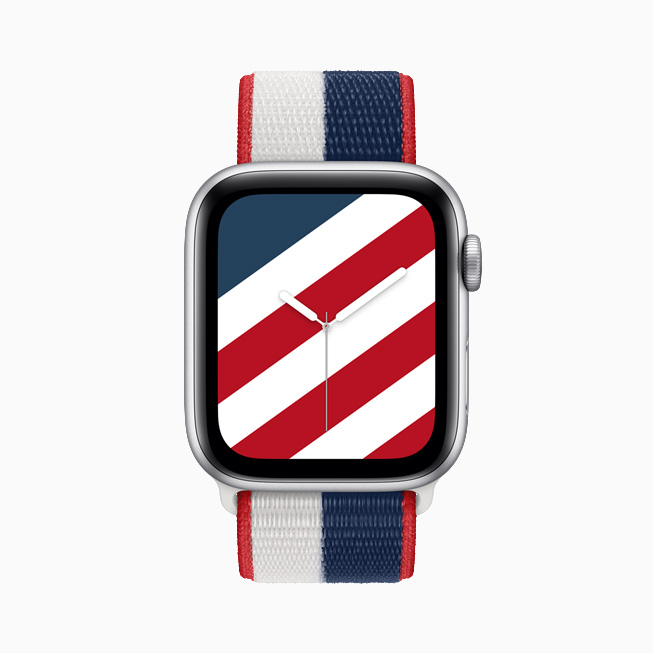 Apple Watch Series 6 with US International Collection Sport Loop and matching Stripes watch face.