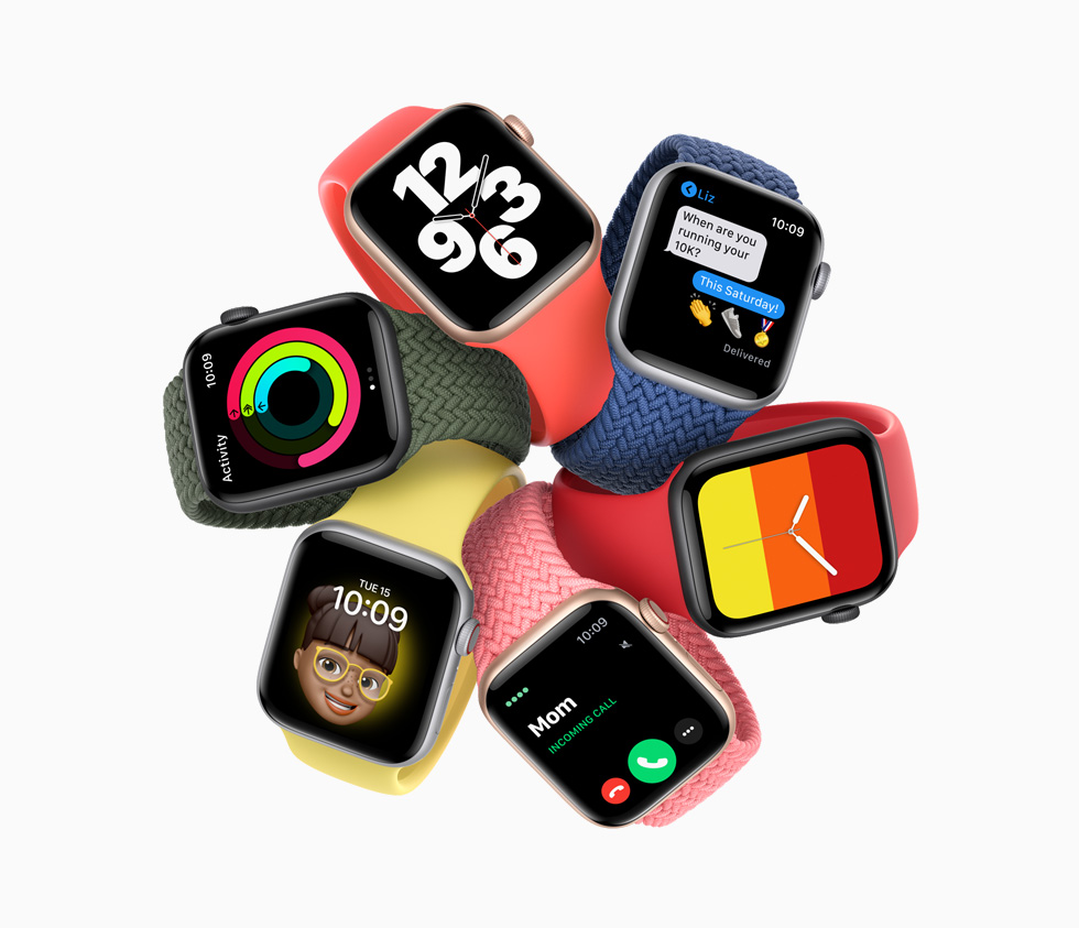 Seks varianter af Apple Watch SE.