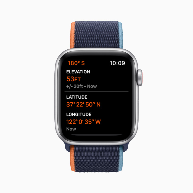 The always-on altimeter displayed on Apple Watch SE.