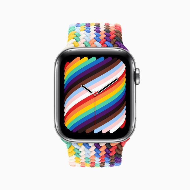 Apple Watch를 위한 프라이드 에디션 브레이드 솔로 루프와 페이스를 정면에서 본 모습.