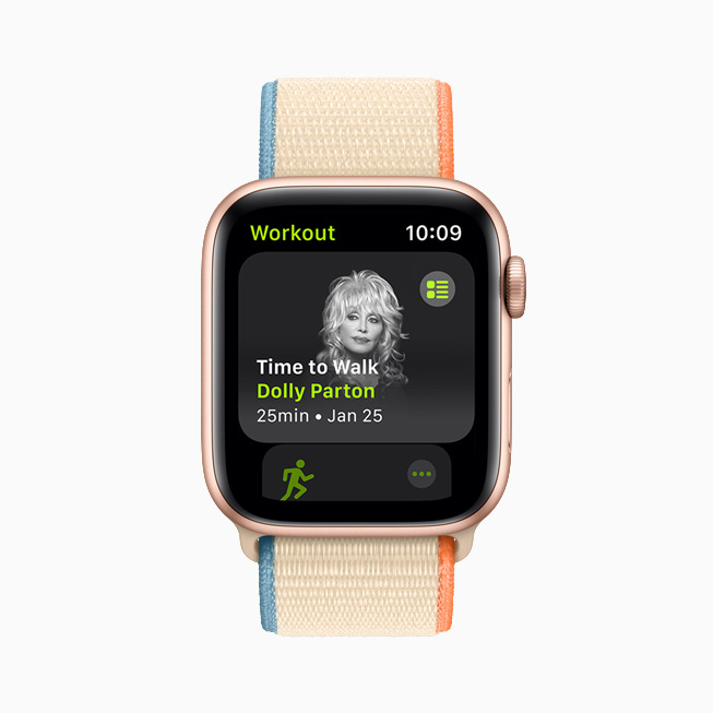 Dolly Parton displayed on Apple Watch.