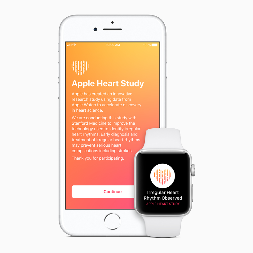 iPhone and Apple Watch showing the Apple Heart Study app.