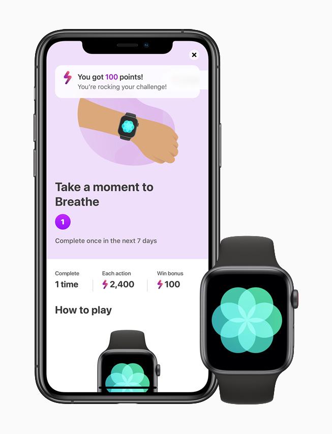 Die LumiHealth-App auf einem iPhone 11 Pro verbunden mit der Atmen App auf einer Apple Watch Series 6.