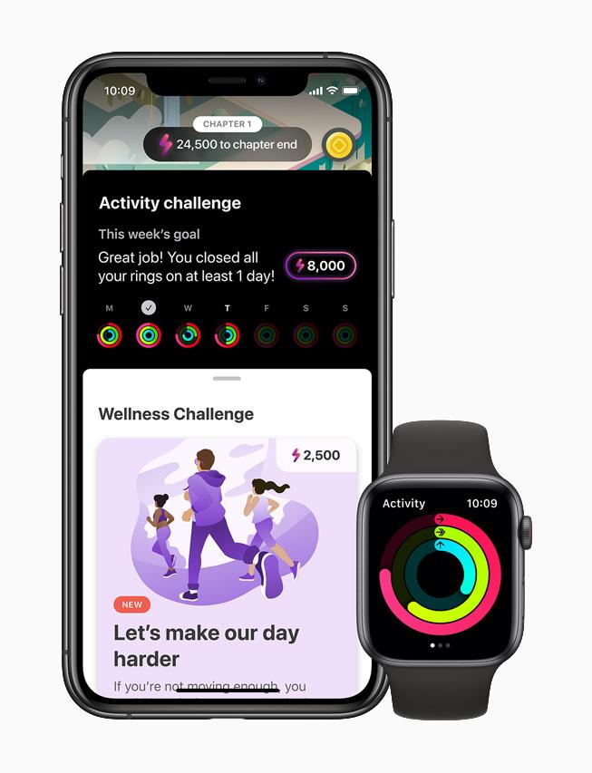 Apple Watch Series 6의 활동 앱과 짝을 이룬 iPhone 11 Pro에 표시된 LumiHealth 앱.