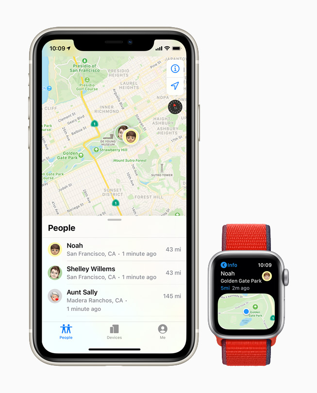 La app Encontrar Personas en el Apple Watch.