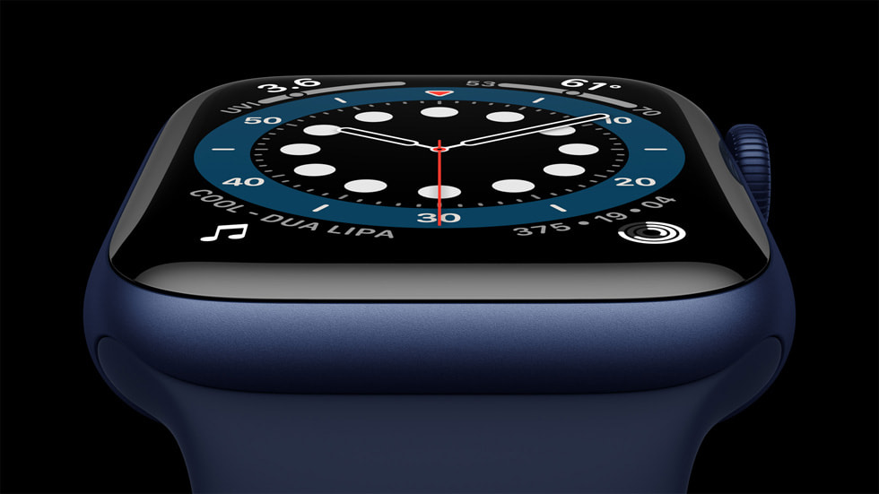 Close-up of blue aluminum case for Apple Watch Series 6.