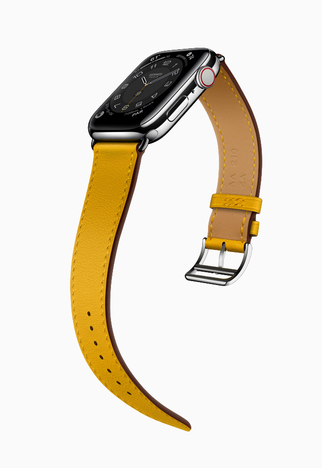 L'Apple Watch Hermès avec un bracelet jaune.